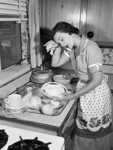 1950s-tired-exhausted-woman-housewife-in-kitchen-with-sink-full-of-dirty-dishes